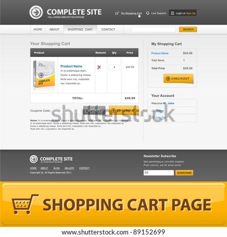 Shopping cart web design template. Grey, orange colors. - stock vector