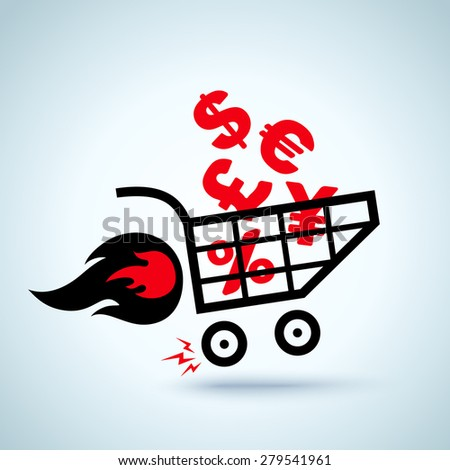 Shopping cart with currency, dollar, euro - stock vector