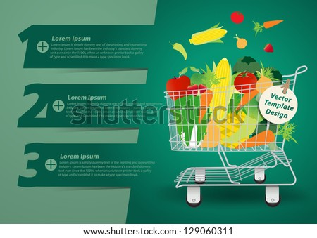 Shopping cart with fruits and vegetables, With Modern Design template / infographics / numbered banners, Vector presentation with letters numbers - stock vector