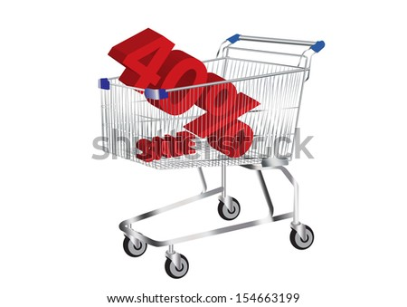 shopping cart with SALE and 40% Symbol inside vector images - stock vector