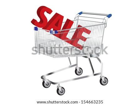 shopping cart with SALE Symbol inside vector images - stock vector