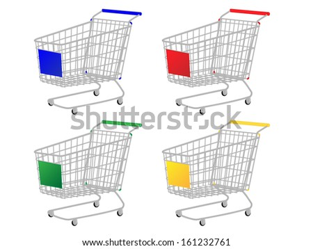 Shopping Carts in Different Colours Blue Red Green Yellow - stock vector