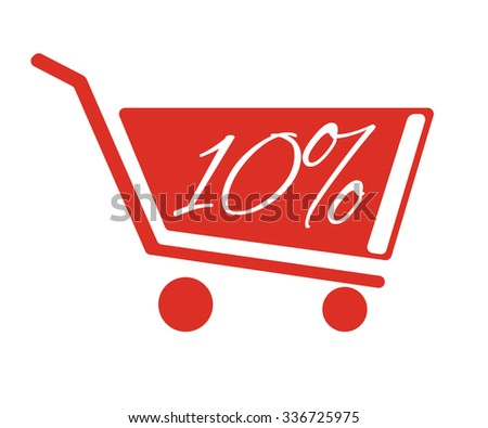 Shopping carts with a discount of 10 percent. The red truck on a white background. - stock vector