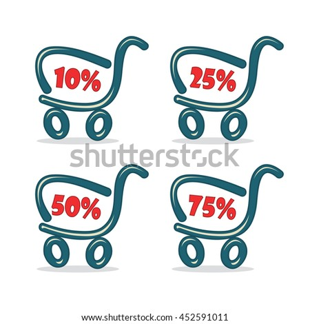 Shopping carts with discount percentage - stock vector