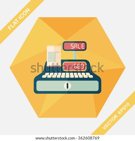 shopping cash register flat icon with long shadow,eps10 - stock vector