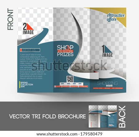 Shopping Center Store Tri-Fold Mock up & Front Brochure Design. - stock vector