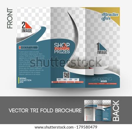 Shopping Center Store Tri-Fold Mock up & Front Brochure Design. - stock vector