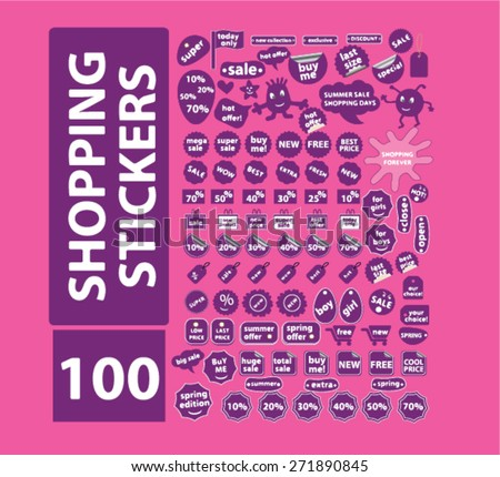 shopping, commerce, retail, internet sales stickers, labels, icons, signs, illustrations set, vector - stock vector