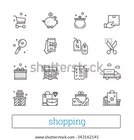 Shopping, commerce, retail thin line icons. Shop  symbols: coupons, wish list, delivery track, cash back, goods and gifts. Modern vector design elements. Isolated on white. - stock vector