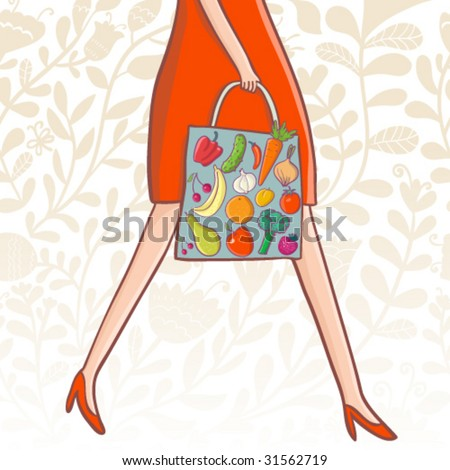 Shopping concept. Buying fresh fruits and vegetables - stock vector