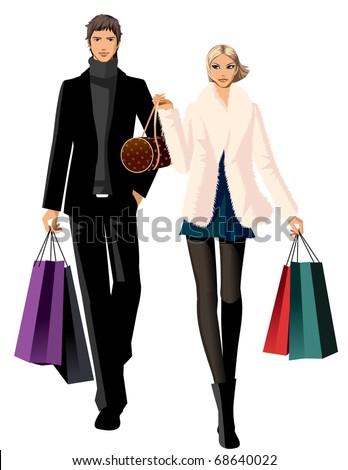 shopping couple - stock vector