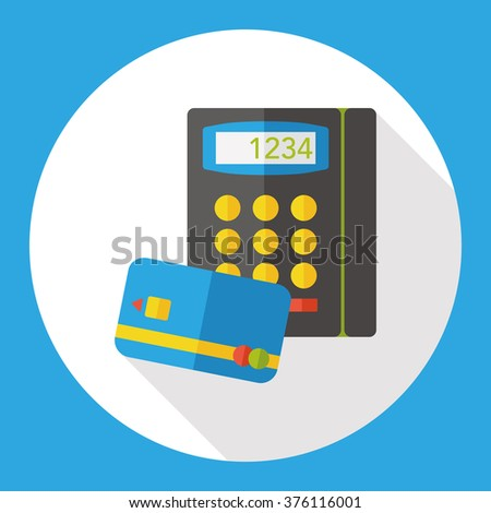 Shopping credit card machine flat icon