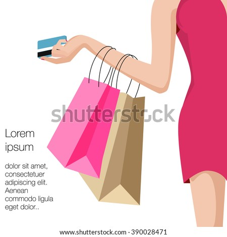 Shopping, credit card, woman - vector graphic