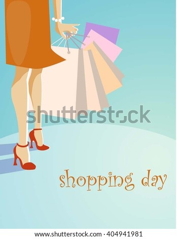 Shopping day. Vector illustration