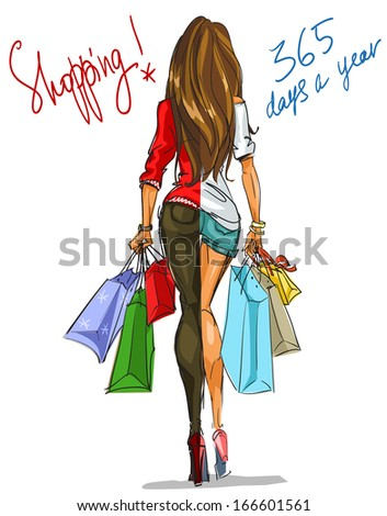 Shopping 365 days a year. Pretty young woman with shopping bags. - stock vector