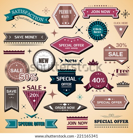 Shopping Design Elements, Stickers And Labels In Retro And Vintage Style, Premium Quality And Satisfaction Guaranteed - Isolated On Background. Vector Illustration, Graphic Design   - stock vector