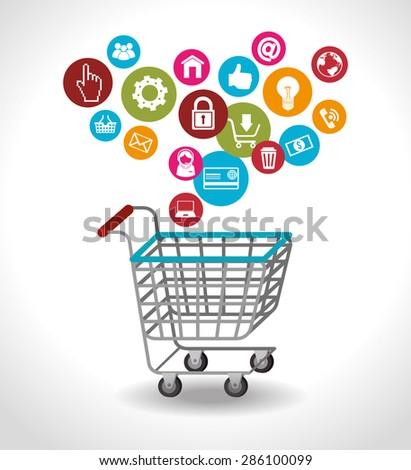 Shopping design over white background, vector illustration. - stock vector