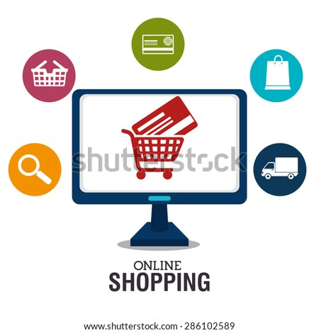 Shopping design over white background, vector illustration.