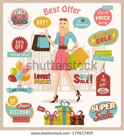 Shopping Design Set. - stock vector