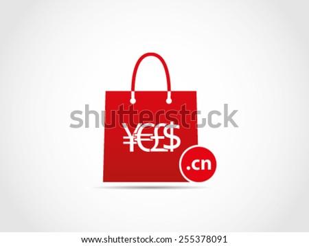 Shopping Domain China - stock vector