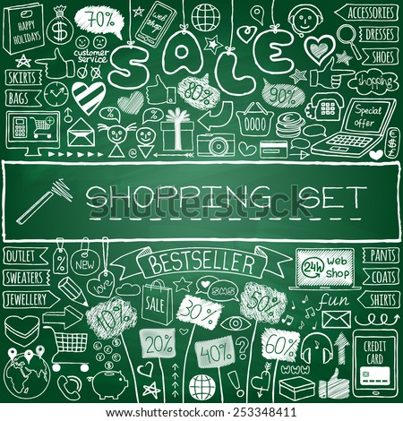 Shopping doodle set. Chalk board effect. Hand drawn icons collection with discount tags, computer, smartphone, gift box, hearts, stars and banners. Online shopping, holiday and season sale concept. - stock vector