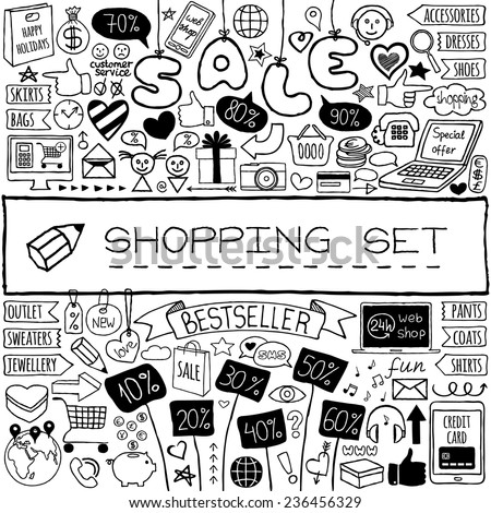 Shopping doodle set. Hand drawn icons collection with discount tags, computer, laptop, smartphone, basket, gift box, hearts, stars and banners. Online shopping, holiday and season sale concept.