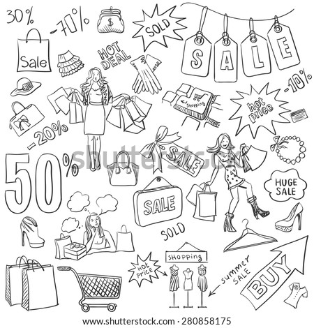 Shopping doodles, Sale. hand drawn style. Excellent vector illustration, EPS 10 - stock vector