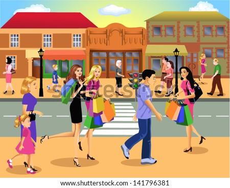shopping downtown - stock vector