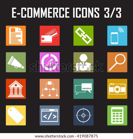 shopping, e-commerce color icons. - stock vector
