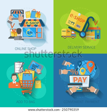 Shopping e-commerce concept design set with online delivery service convenient payment flat icons isolated vector illustration - stock vector