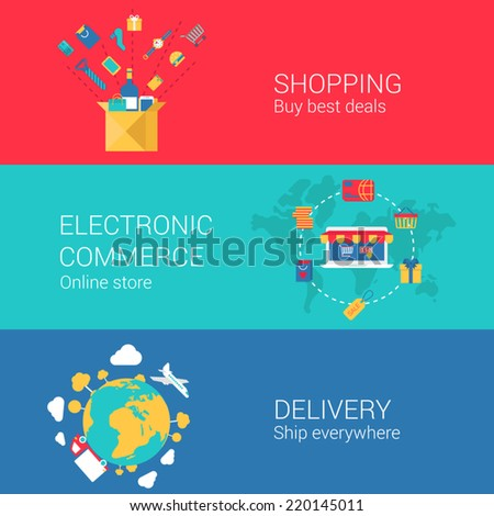 Shopping e-commerce delivery concept flat icons set of online order electronic store shipment and vector web banners illustration print materials website click infographics elements collection - stock vector