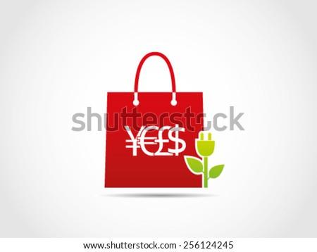 Shopping ECO Green Energy - stock vector