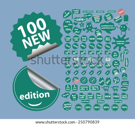 shopping, eCommerce, internet store, retail, action flat stickers, icons, signs, illustrations design concept vector set - stock vector