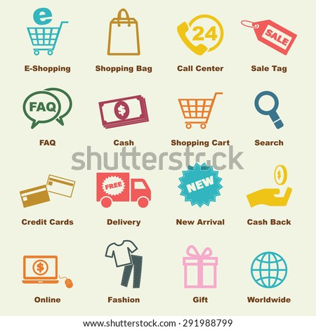 shopping elements, vector infographic icons