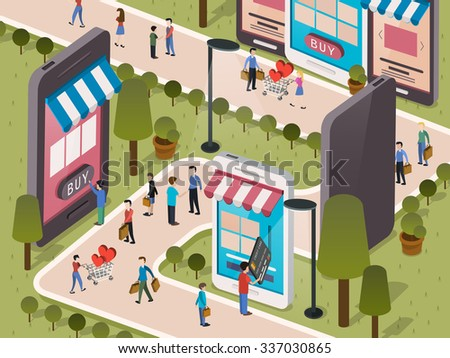 shopping everywhere through your mobile phone in 3d isometric flat design - stock vector