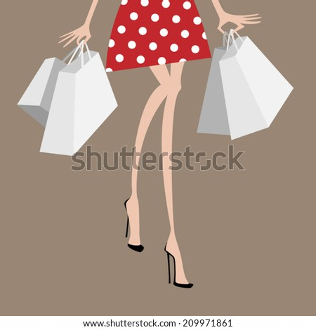 Shopping fashionable woman in red dress with white dots. Hands full of shopping bags.