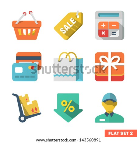 Shopping Flat icon set for Web and Mobile Application. - stock vector