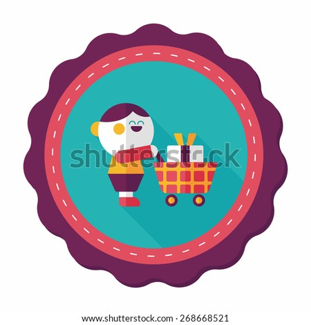 shopping flat icon with long shadow,eps10 - stock vector