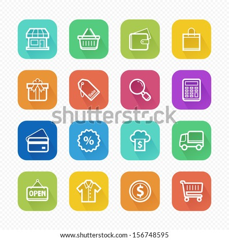 Shopping Flat Icons with Long Shadow - Vector illustration