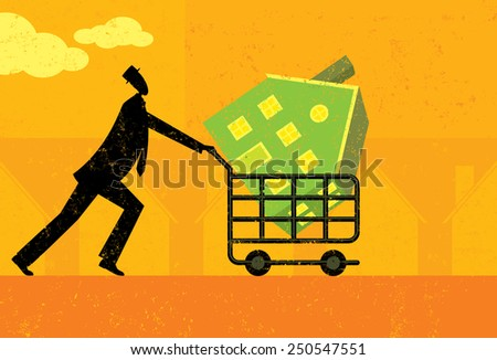 Shopping for a Home A man walking with a new house in his shopping cart. The man, shopping cart, and home are on a separate labeled layer from the background.