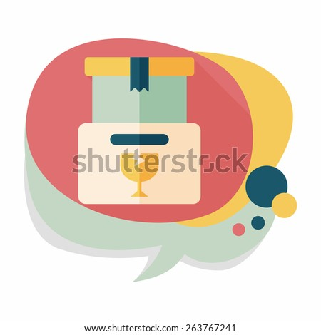 shopping FRAGILE box flat icon with long shadow,eps10 - stock vector