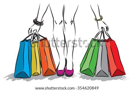 shopping girl 1  - stock vector