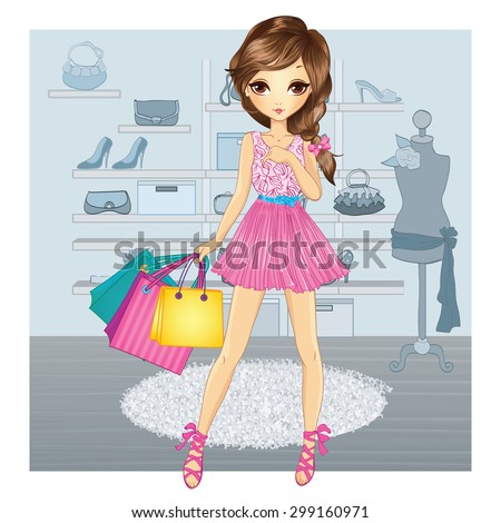 Shopping girl. Fashion young girl with shopping bags in the interior of the shoe store - stock vector