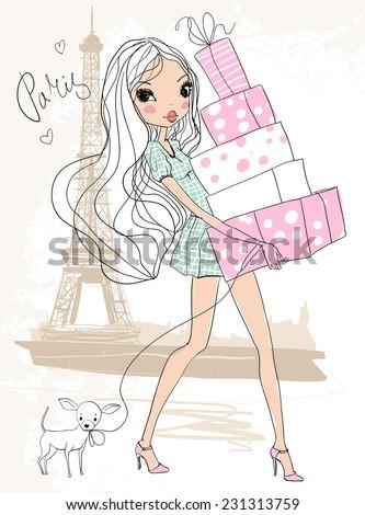 Shopping girl in Paris  - stock vector
