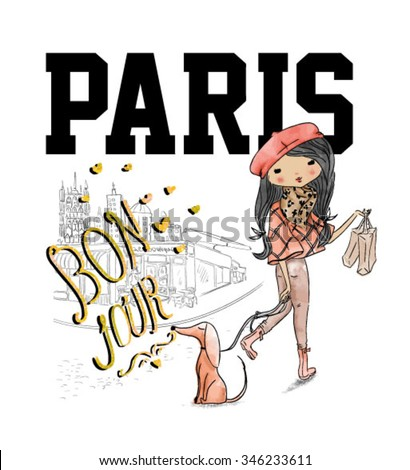 shopping girl with dog and paris - stock vector