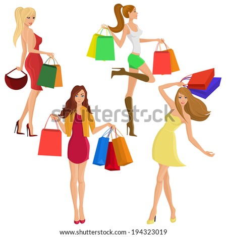 Shopping girl young sexy female figures with sale fashion bags isolated vector illustration - stock vector