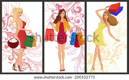 Shopping girl young sexy females with fashion bags vertical banners with swirl decoration set isolated vector illustration - stock vector