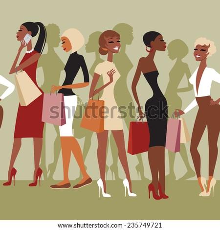 Shopping girls - stock vector