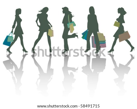 shopping girls silhouettes against white background, abstract vector art illustration - stock vector