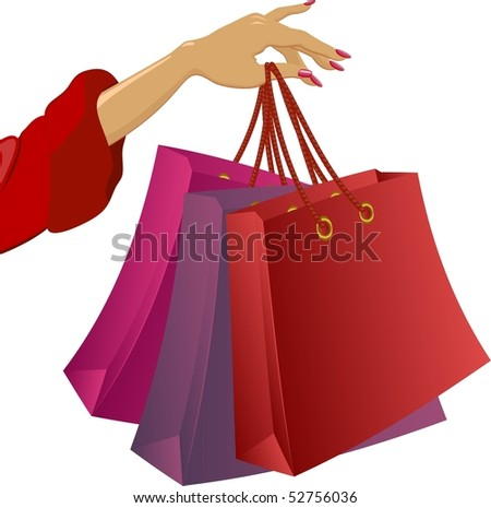 Shopping: hand with bags. Vector illustration on white